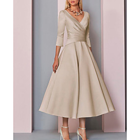 cheap The Wedding Store-A-Line V Neck Ankle Length Satin 3/4 Length Sleeve Vintage / Plus Size / Elegant Mother of the Bride Dress with Pleats 2020