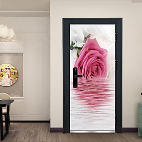 povoljno Ukrasne naljepnice-odraz ružičastog cvijeća vrata naljepnice ukrasne vodootporna vrata decal dekor