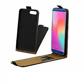 Недорогие Чехлы и кейсы для Huawei Honor-Кейс для Назначение Huawei Huawei Honor 10 / Honor 10 Lite / Honor 9 Бумажник для карт / Защита от удара / Флип Чехол Однотонный Твердый Настоящая кожа