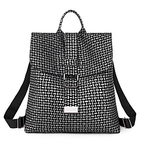 cheap Women's Bags-Waterproof PU Zipper Commuter Backpack Solid Color Daily Black / Silver / Fall & Winter