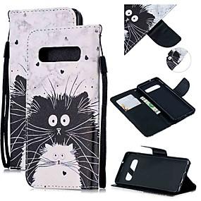 voordelige Galaxy S7 Hoesjes / covers-hoesje Voor Samsung Galaxy S9 / S9 Plus / S8 Plus Portemonnee / Kaarthouder / Schokbestendig Volledig hoesje Kat PU-nahka