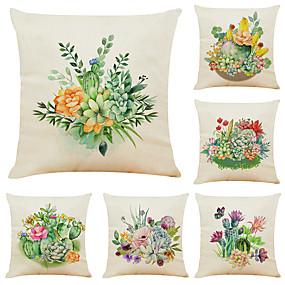 povoljno Dom i vrt-set od 6 kaktusa sukulenti platno kvadratna ukrasna kutija jastučnica kauč jastuk pokriva 18x18