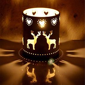 رخيصةأون Home Fragrances-الأيائل الحديد زينة عيد الميلاد شمعدانات محور الحدث الديكور شمعدان