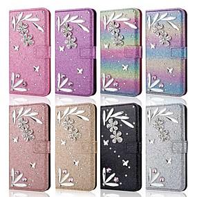 Недорогие Чехлы и кейсы для Galaxy Note 8-чехол для samsung galaxy note 9 / note 8 / note 10 кошелек / визитница / противоударный чехол для всего тела перья / блестящий блеск искусственная кожа / тпу чехол для samsung galaxy note 10 / galaxy