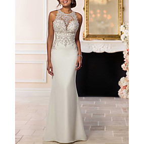 cheap The Wedding Store-Mermaid / Trumpet Halter Neck Sweep / Brush Train Lace / Satin Made-To-Measure Wedding Dresses with Beading by LAN TING Express