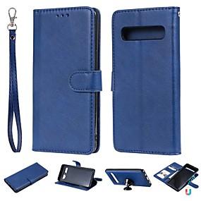 voordelige Galaxy S6 Edge Plus Hoesjes / covers-hoesje Voor Samsung Galaxy S9 / S9 Plus / S8 Plus Portemonnee / Kaarthouder / met standaard Volledig hoesje Effen Hard PU-nahka