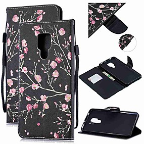 Недорогие Чехлы и кейсы для Huawei Mate-Кейс для Назначение Huawei Huawei Nova 3i / Huawei Nova 4 / Mate 10 Кошелек / Бумажник для карт / Защита от удара Чехол Цветы Кожа PU