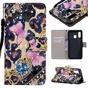Недорогие Чехлы и кейсы для Galaxy A3(2016)-Кейс для Назначение SSamsung Galaxy A6 (2018) / A6+ (2018) / Galaxy A7(2018) Кошелек / Бумажник для карт / Защита от удара Чехол Бабочка Твердый Кожа PU
