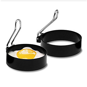 cheap Kitchen & Dining-Nonstick Stainless Steel Handle Round Egg Rings Shaper Pancakes Molds Ring Round Egg Fried Molds Kitchen Tools Egg Cooker
