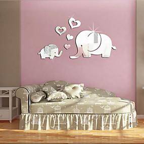 저렴한 장식 스티커-귀여운 3d 하트 모양의 코끼리 벽 장식 거울 스티커 diy 이동식 아기 아이 방 벽화 데칼