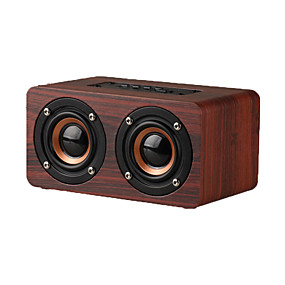 olcso Napi akciók-w5 digitális ébresztőóra bluetooth hangszóró vezeték nélküli kéz nélküli fa hangszóró mikrofonnal 1500mah klasszikus otthoni hangszóró