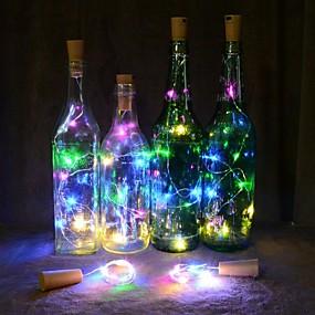 olcso LED szalagfények-2m LED-es szalagfények 20 LED Meleg fehér / Több színű Karácsonyi esküvői dekoráció / Boros palackzáró parafa rézhuzal Akkumulátorok 1db