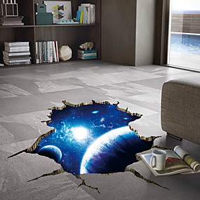 cheap Decoration Stickers-3D Space Nebula Wall Stickers - Plane Wall Stickers Floral / Botanical / Landscape Study Room / Office / Dining Room / Kitchen