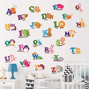 hesapli Dekorasyon Etiketleri-Yaratıcı diy hayvan İngilizce alfabe duvar sticker çocuk odaları için oturma odası anaokulu yatak odası sticker dekoratif duvar çıkartmaları-düzlem duvar çıkartmaları hayvanlar çocuk odası / kreş