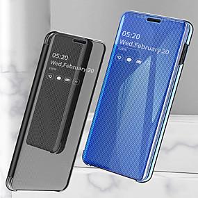 voordelige Galaxy S7 Edge Hoesjes / covers-hoesje Voor Samsung Galaxy S9 / S9 Plus / S8 Plus Schokbestendig / Beplating / Spiegel Volledig hoesje Effen Hard PU-nahka