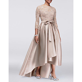 cheap The Wedding Store-A-Line Jewel Neck Asymmetrical Lace / Satin Mother of the Bride Dress with Bow(s) / Pleats by LAN TING Express