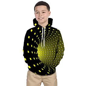 cheap New Year 2020-Kids Toddler Boys' Active Basic Rubik's Cube Geometric Galaxy 3D Print Long Sleeve Hoodie & Sweatshirt Black