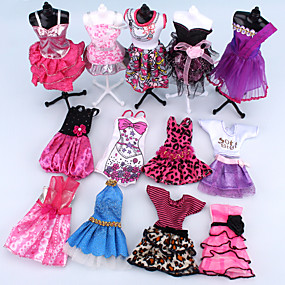 cheap Dolls & Stuffed Toys-Doll Dress For Barbiedoll Pink Polyester Dress For Girl's Doll Toy