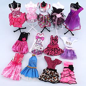 رخيصةأون حيوانات أليفة ,ألعاب وهوايات-دمية اللباس إلى Barbie زهري البوليستر فستان إلى لفتاة دمية لعبة
