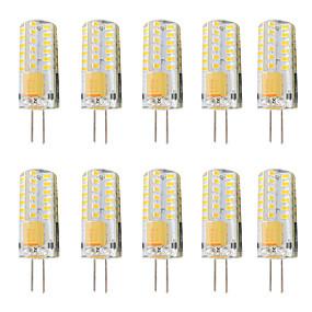 Недорогие Двухконтактные LED лампы-10 шт. 3 W Двухштырьковые LED лампы 300 lm G4 T 48 Светодиодные бусины SMD 3014 Диммируемая Тёплый белый Белый 12-24 V