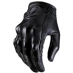Недорогие Мотоциклетные перчатки-1 пара черных кожаных перчаток езда на велосипеде мотоцикл защитная броня сетка твердые гоночные перчатки