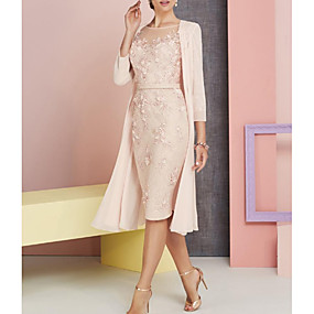 cheap The Wedding Store-Sheath / Column Bateau Neck Knee Length Chiffon / Lace 3/4 Length Sleeve Vintage / Plus Size / See Through Mother of the Bride Dress with Appliques 2020