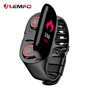 رخيصةأون الأساور الذكية-lemfo m1 الذكية معصمه مع tws صحيح سماعات لاسلكية BT اللياقة البدنية تعقب دعم إخطار ومعدل ضربات القلب الملونة شاشة LCD للماء smartwatch