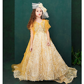 cheap Flower Girl Dresses-A-Line Court Train Flower Girl Dress - Lace / Tulle Short Sleeve Jewel Neck with Beading / Appliques / Lace by