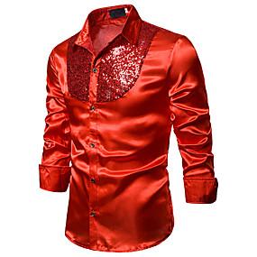 voordelige Nieuw Binnengekomen-Heren Standaard / Sexy Pailletten EU / VS maat - Overhemd Club Effen Klassieke boord Blauw / Rood Zwart / Lange mouw