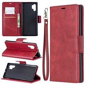Недорогие Чехлы и кейсы для Galaxy Note 8-Кейс для Назначение SSamsung Galaxy Note 9 / Note 8 / Galaxy Note 10 Кошелек / Бумажник для карт / со стендом Чехол Однотонный Кожа PU