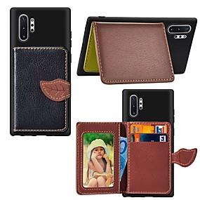 Недорогие Чехлы и кейсы для Galaxy Note 8-Кейс для Назначение SSamsung Galaxy Note 9 / Note 8 / Galaxy Note 10 Кошелек / Бумажник для карт / Защита от удара Кейс на заднюю панель дерево Кожа PU