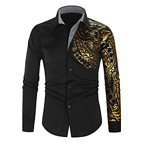 저렴한 최고 판매-남성용 일상 셔츠 동물 부족 긴 소매 슬림 탑스 스트리트 쉬크 화이트 블랙 루비