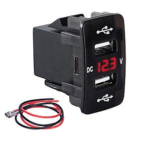 Недорогие Автомобильные зарядные устройства-Автомобильное зарядное устройство слот типа Dual USB 3.1a многофункциональное быстрое зарядное устройство с измерителем напряжения для автомобилей для моделей Honda зеленый свет