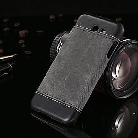 olcso Galaxy J7 tokok-Case Kompatibilitás Samsung Galaxy A5 / A3 / J7 Ultra-vékeny Fekete tok Egyszínű PU bőr / PC