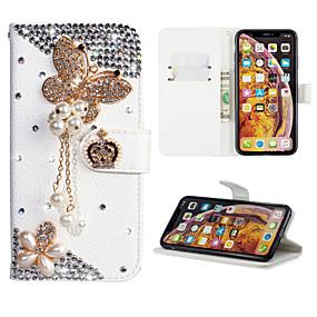 voordelige Galaxy J3(2017) Hoesjes / covers-hoesje Voor Samsung Galaxy J7 (2017) / J6 (2018) / J6 Plus Portemonnee / Kaarthouder / Strass Volledig hoesje Vlinder PU-nahka