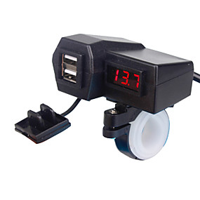Недорогие Автоэлектроника-5v 3.1a двойной usb мотоцикл зарядное устройство для крепления руля со светодиодным цифровым дисплеем для мобильных телефонов iphone samsung и xiaomi