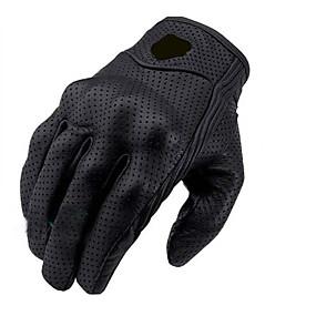 povoljno Motociklističke rukavice-1 par crnih kožnih rukavica za vožnju bicikla zaštitnim oklopnim mrežama čvrste trkačke rukavice