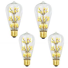 hesapli LED Filaman Ampuller-4adet 3 W LED Filaman Ampuller 200 lm E26 / E27 ST64 47 LED Boncuklar SMD Kısılabilir Dekorotif Yıldızlı Sıcak Beyaz 220-240 V