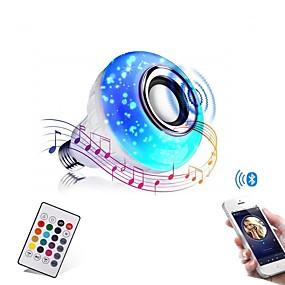 olcso LED okos izzók-bluetooth izzó hangszóró 12w intelligens led zenelejátszó izzó e27 e26 b22 basecolorfulwireless rgb led izzók 24 gombos távirányítóval bár dekorációhoz otthoni ktv party étterem