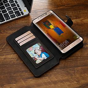 Недорогие Чехлы и кейсы для Huawei Mate-Кейс для Назначение Huawei Mate 9 / Mate 9 Pro Кошелек / Бумажник для карт / Флип Чехол Однотонный Кожа PU