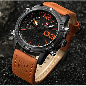 Недорогие Фирменные часы-NAVIFORCE Муж. Спортивные часы Модные часы Нарядные часы Японский Кварцевый Натуральная кожа Черный / Оранжевый / Коричневый 30 m Защита от влаги Календарь С двумя часовыми поясами Аналого-цифровые