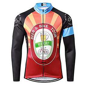 cheap Cycling Clothing-21Grams Men's Long Sleeve Cycling Jersey Winter Black / Orange Oktoberfest Beer Bike Jersey Top Mountain Bike MTB Road Bike Cycling UV Resistant Breathable Quick Dry Sports Clothing Apparel