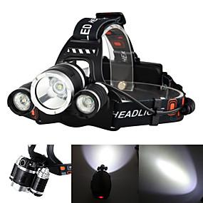 ieftine Lanterne-Boruit® RJ-3000 Frontale Becul farurilor Lanternă Reîncărcabil 3000/5000 lm LED LED 3 emițători 4.0 Mod Zbor cu Baterii și Încărcătoare Zoomable Reîncărcabil Mască exterioară lanternă Camping