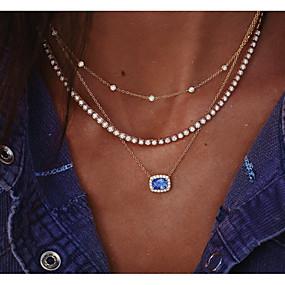 olcso Többsoros nyaklánc-Női Rakott nyakláncok Klasszikus Króm Arany 34.5 cm Nyakláncok Ékszerek 1db Kompatibilitás Napi