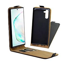 Недорогие Чехлы и кейсы для Galaxy Note 8-чехол для samsung galaxy note 9 / note 8 / galaxy note 10 держатель для карт / противоударный / с подставкой для чехлов из цельного куска натуральный кожаный чехол для samsung galaxy note 10 / galaxy