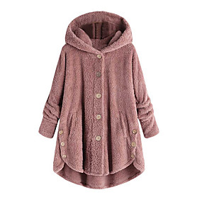 cheap Women's Coats & Trench Coats-Women's Daily Fall & Winter Regular Coat, Solid Colored Hooded Long Sleeve Polyester Wine / Light Brown / Light gray
