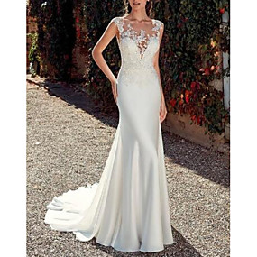 cheap The Wedding Store-Sheath / Column Jewel Neck Sweep / Brush Train Lace / Satin Made-To-Measure Wedding Dresses with Appliques by LAN TING Express