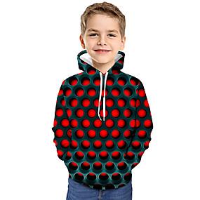cheap New Year 2020-Kids Toddler Boys' Active Basic Geometric Color Block 3D Print Long Sleeve Hoodie & Sweatshirt Red