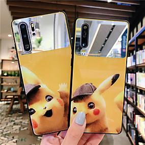 Недорогие Чехлы и кейсы для Huawei Mate-Кейс для Назначение Huawei Huawei Nova 4 / Huawei nova 4e / Huawei P20 Зеркальная поверхность / Ультратонкий / С узором Кейс на заднюю панель Мультипликация ТПУ / ПК