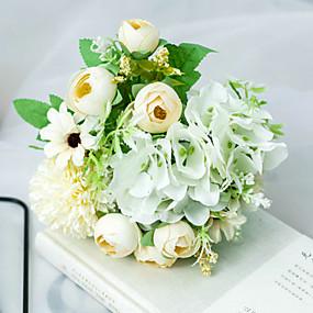 رخيصةأون أزهار اصطناعية-زهور اصطناعية 1 فرع كلاسيكي الزفاف Wedding Flowers الورود أرطنسية الفاوانيا أزهار الطاولة